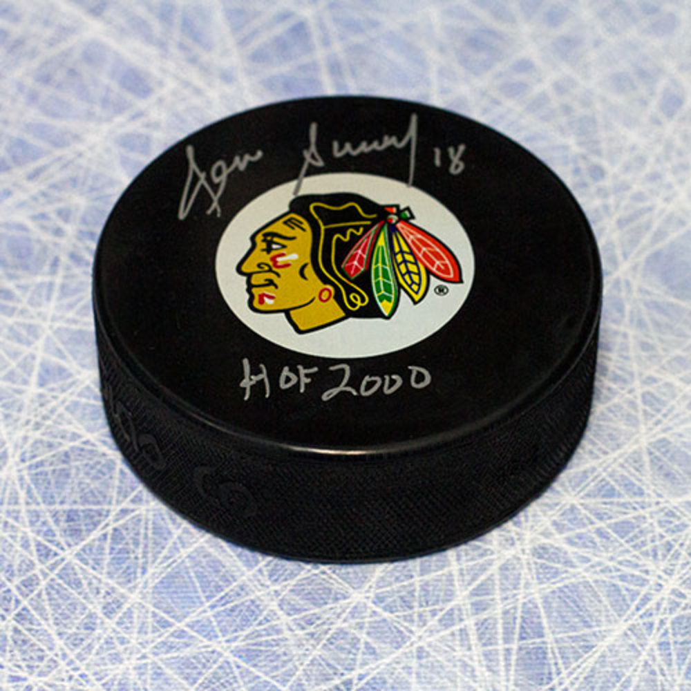 Denis Savard Chicago Blackhawks Autographed Hockey Puck with HOF Inscription