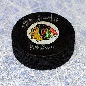 Denis Savard Chicago Blackhawks Autographed Hockey Puck w/ HOF Note