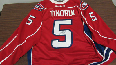 AHL RED GAME ISSUED JARRED TINORDI JERSEY