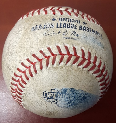 Photo of Authenticated Game Used Baseball (Top 9): Roberto Osuna strikes out Keon Broxton and single by Ryan Braun off of Roberto Osuna (41st Blue Jays Home Opener)