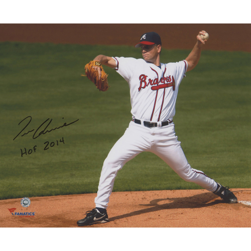 "Photo of Tom Glavine Atlanta Braves Autographed 8"" x 10"" White Uniform Pitching Photograph with the inscription HOF 14 Inscription"