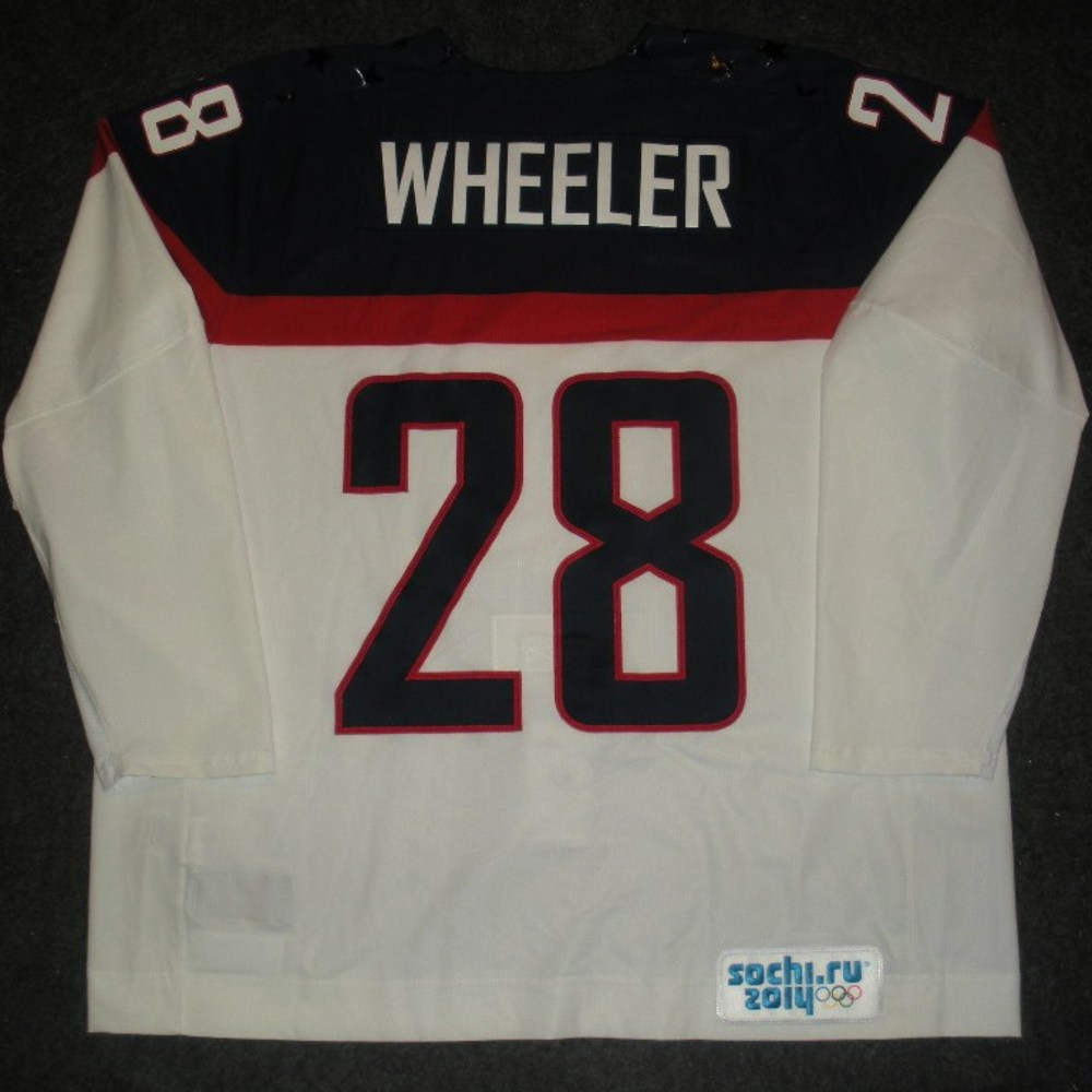 Blake Wheeler - Sochi 2014 - Winter Olympic Games - Team USA White Game-Worn Jersey - Worn in 2nd and 3rd Periods vs. Slovakia, 2/13/14