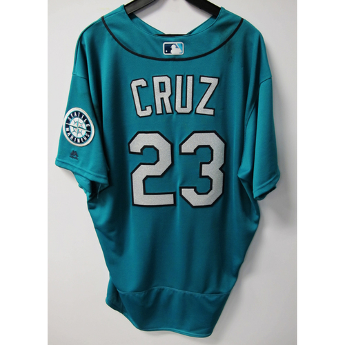 Photo of Nelson Cruz Green Game-Used Jerseys - 6/10/2016 - Size 52