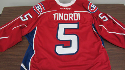 AHL RED GAME ISSUED JARRED TINORDI JERSEY SIGNED