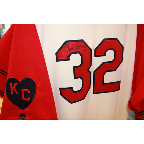 Photo of Chris Young Autographed Game-Used Kansas City Monarchs Jersey (5/7/2017) (Size 54)
