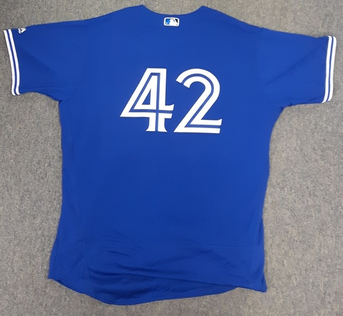 Photo of Charity Auction - Authenticated Game Used 2017 Jackie Robinson Day Jersey- #42 Darwin Barney. Barney went 1-for-1 with an RBI.