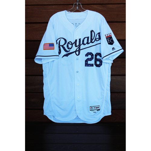 Photo of Game-Used Mike Minor 4th of July Home Jersey (Size 48 - MIN at KC - 7/2/17)