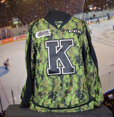 #15 Sam Field Game Issued (Worn) Kingston Frontenacs Camo Jersey