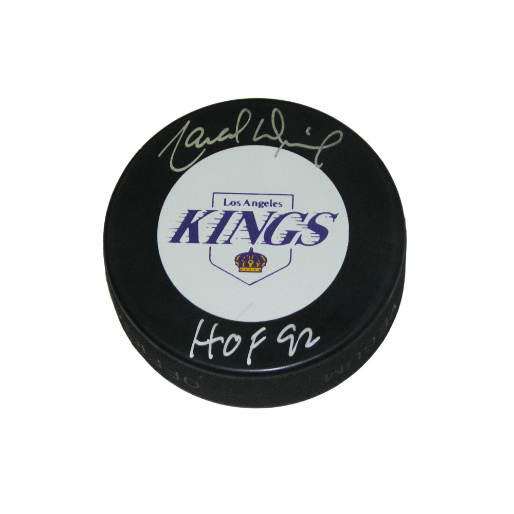 MARCEL DIONNE Signed Los Angeles Kings Puck with HOF inscription