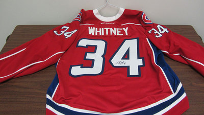 AHL RED GAME ISSUED BRANDON WHITNEY JERSEY