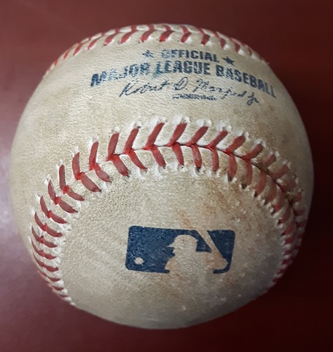 Authenticated Game Used Baseball (Bottom 9): Four pitches from Neftali Feliz to Kevin Pillar (41st Blue Jays Home Opener)