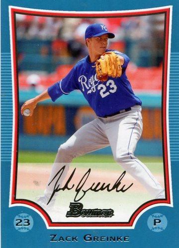 Photo of 2009 Bowman Blue #88 017/500 Zack Greinke -- D'backs post-season