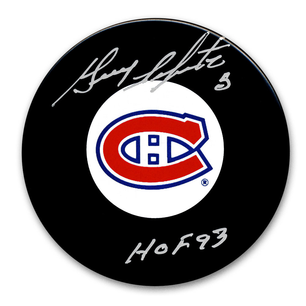 Guy Lapointe Montreal Canadiens HOF Autographed Puck