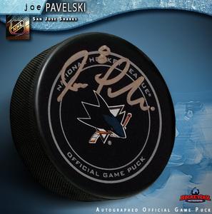 JOE PAVELSKI Signed San Jose Sharks Official Game Puck
