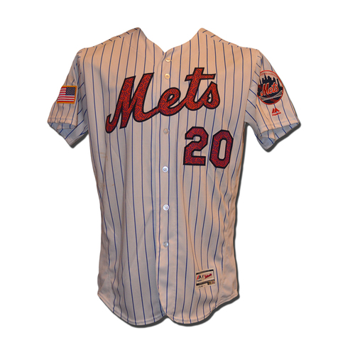 Photo of Neil Walker #20 - Game Used 4th of July Jersey - Mets vs. Marlins - 7/4/16