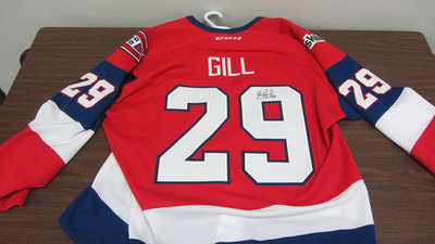 AHL GAME ISSUED THIRD JERSEY SAHIR GILL JERSEY SIGNED