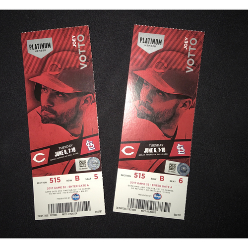 Scooter Gennett -- Game Tickets -- from Cardinals vs. Reds on June 6, 2017 -- Gennett went 5-for-5 (4 HR, 1B, 10 RBI)