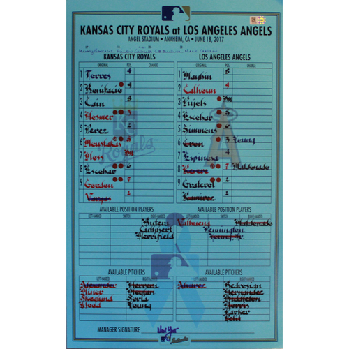 Photo of Game-Used Father's Day Line Up Card (6/18/17 KC @ LAA) (Hosmer 500th RBI)