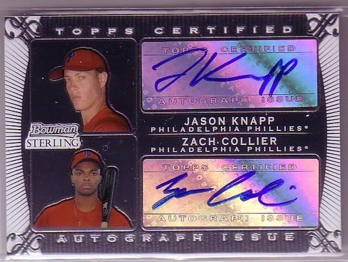 Photo of 2009 Bowman Sterling Dual Autographs #JKZC Jason Knapp/Zach Collier