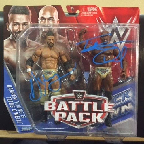 Photo of Darren Young & Titus O'Neill SIGNED WWE Battle Pack Figures