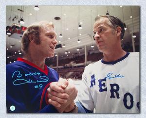Gordie Howe & Bobby Hull Dual Signed Houston Aeros Winnipeg Jets WHA 16x20 Photo