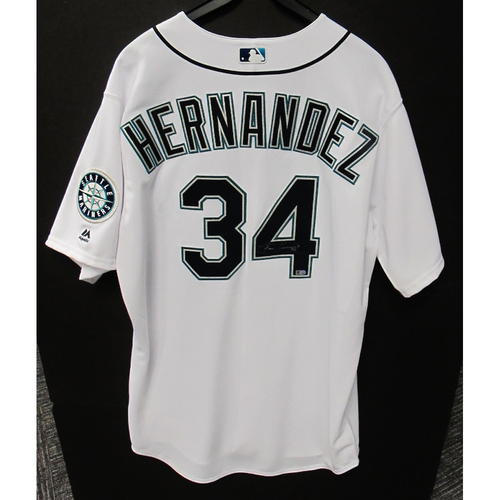 Photo of Felix Hernandez White Autographed Clubhouse Issued Jersey 2016 Size 50