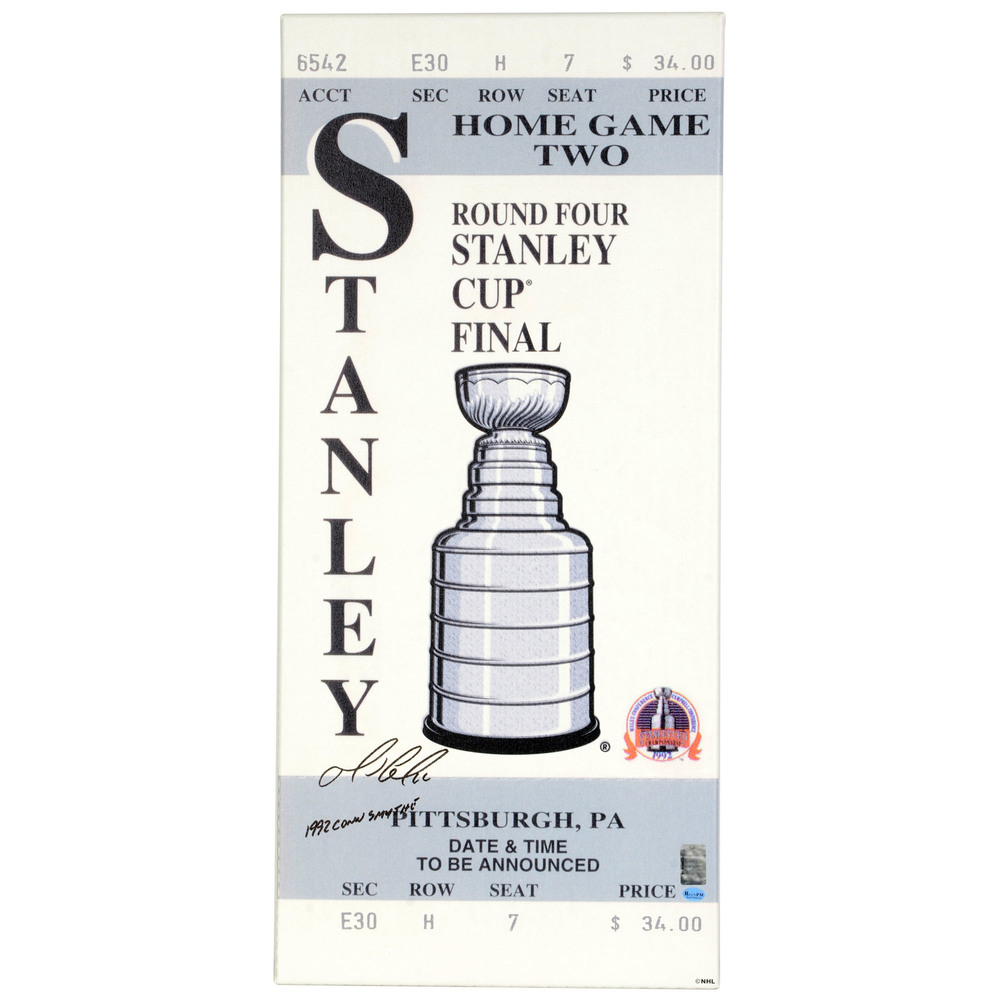 Mario Lemieux Pittsburgh Penguins Autographed 1992 Stanley Cup Finals Mega Ticket with 1992 Conn Smythe Inscription