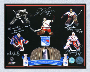 NY Rangers Madison Square Gardens Autographed Goalie Legends Collage 16x20 Photo