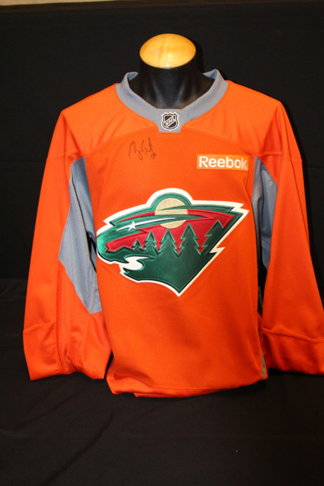 #20 Ryan Suter Autographed Blaze Orange Wild Jersey