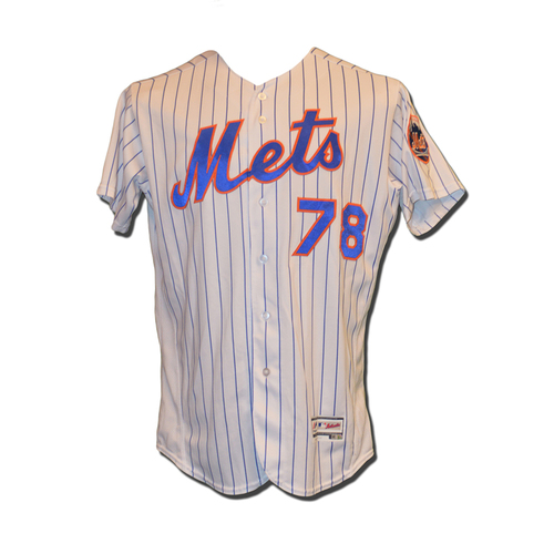Photo of Eric Langill #78 - Game Used White Pinstripe Jersey - Mets vs. Phillies - 9/23/16