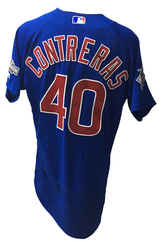 Photo of Willson Contreras Game-Used Jersey -- Contreras 1 for 2 -- 2016 World Champion Season -- NLDS Game 3 -- Cubs vs Giants -- 10/10/16