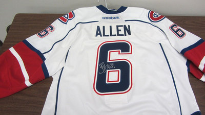 AHL WHITE GAME ISSUED BRYAN ALLEN JERSEY SIGNED (1 OF 2)