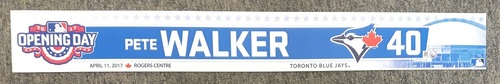 Photo of Authenticated Game Used 2017 Home Opener Locker Tag - #40 Pete Walker