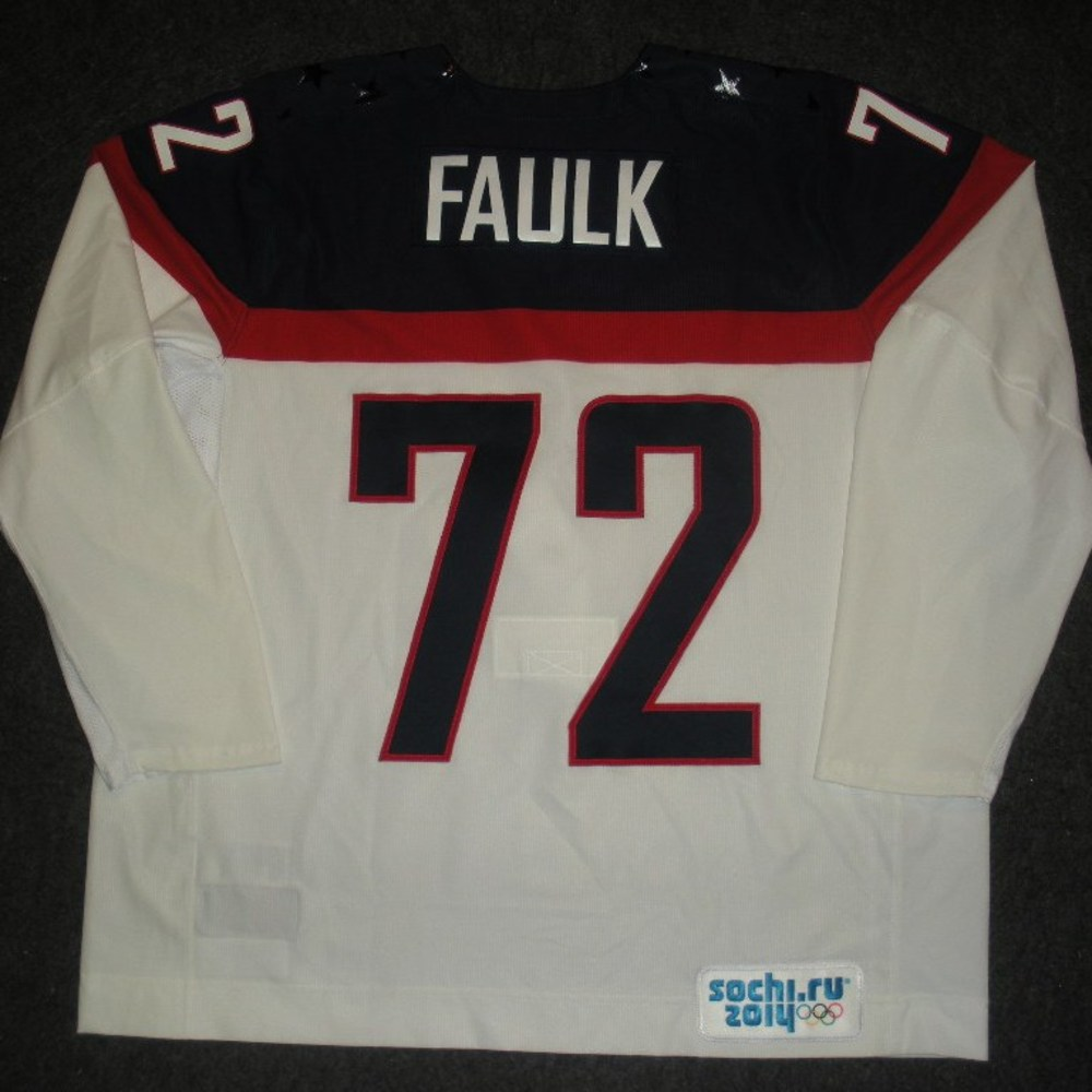 Justin Faulk - Sochi 2014 - Winter Olympic Games - Team USA White Game-Issued Jersey - 2nd and 3rd Periods vs. Slovakia, 2/13/14
