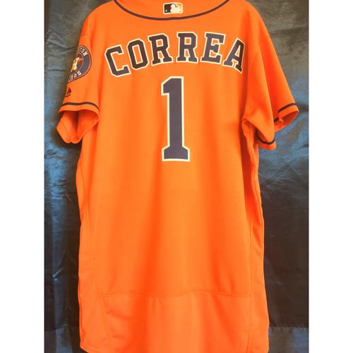 Photo of Game-Used Carlos Correa Orange Alternate Jersey