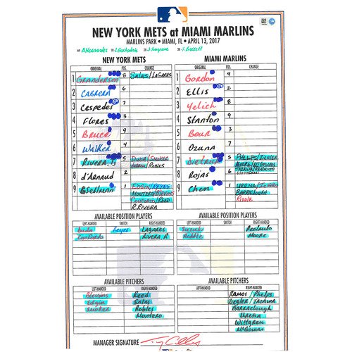 Photo of Game Used Lineup Card - Cespedes Hits 2 Home Runs, d'Arnaud Hits Home Run in 16th Inning - Mets Win 9-8 - Mets vs. Marlins - 4/13/17