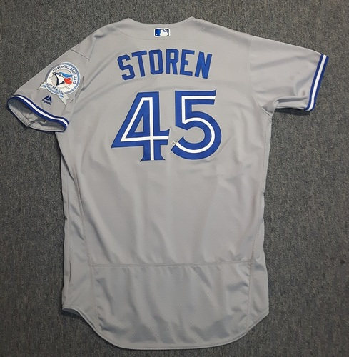 Photo of Authenticated Game Used Jersey - #45 Drew Storen (April 3, 2016 - Opening Day). Size 46