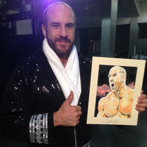 Cesaro Signed Painting by Rob Schamberger
