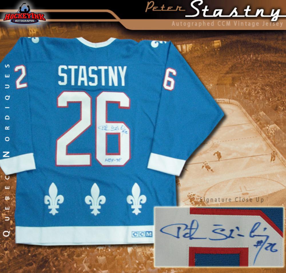 PETER STASTNY Signed Quebec Nordiques Blue CCM Jersey
