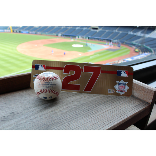 Photo of #27 Visiting Locker Nameplate and Game-Used Baseball: Mike Trout SGL (4/15/17)