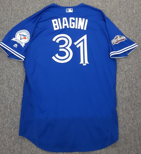 Photo of Authenticated Game Used 2016 Postseason Jersey - #31 Joe Biagini (ALCS Games 4 and 5). Biagini went 1 IP with 1 K in ALCS Game 5.