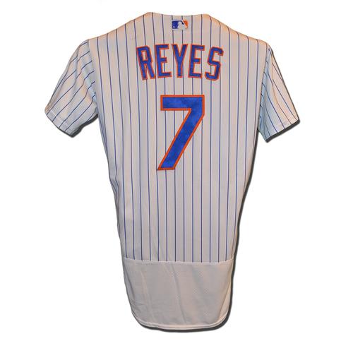 Jose Reyes #7 - Game Used White Pinstripe Jersey - Reyes Goes 1-3, BB, R, SB - Mets vs. Braves - 9/21/16
