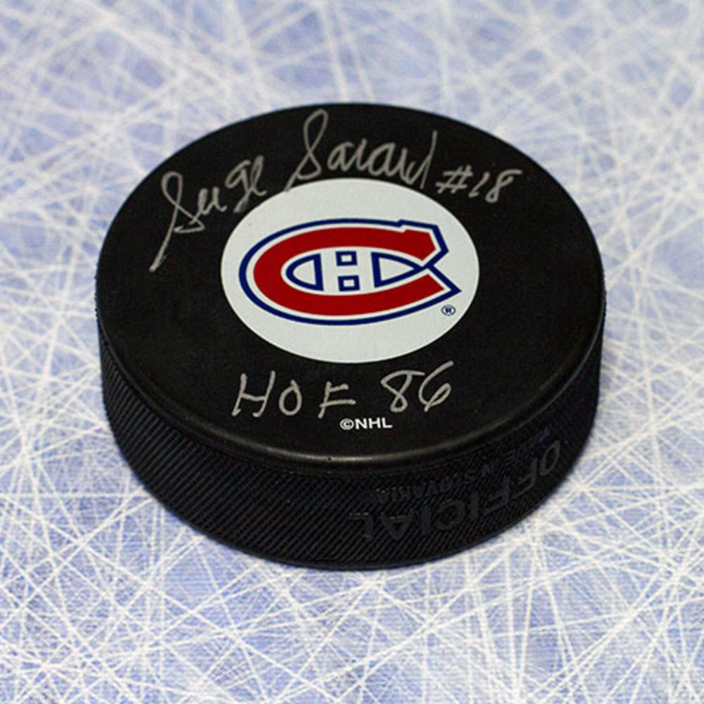 Serge Savard Montreal Canadiens Autographed Hockey Puck with HOF Note