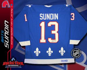 MATS SUNDIN Signed Retro CCM Blue Quebec Nordiques Jersey
