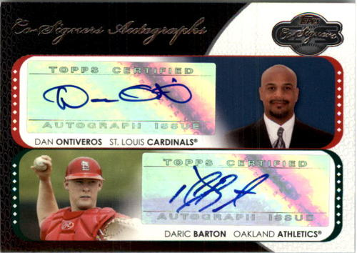Photo of 2008 Topps Co-Signers Dual Autographs #OBA Dan Ontiveros/Daric Barton B