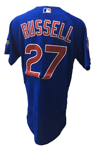 Photo of Addison Russell Game-Used Jersey -- Russell 1 for 5 -- 2016 World Champion Season -- NLDS Game 3 -- Cubs vs Giants -- 10/10/16