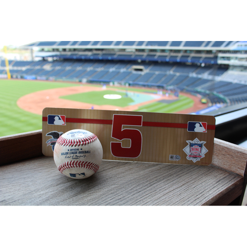 Photo of #5 Visiting Locker Nameplate and Game-Used Baseball: Albert Pujols SGL (4/15/17)