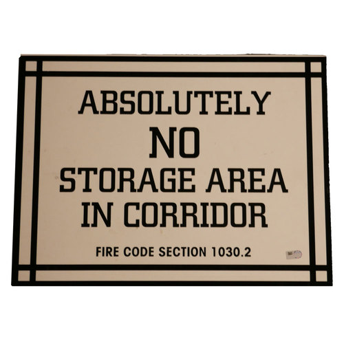 "Photo of San Francisco Giants - AT&T Park Sign - ""Absolutely No Storage Area in Corridor"""