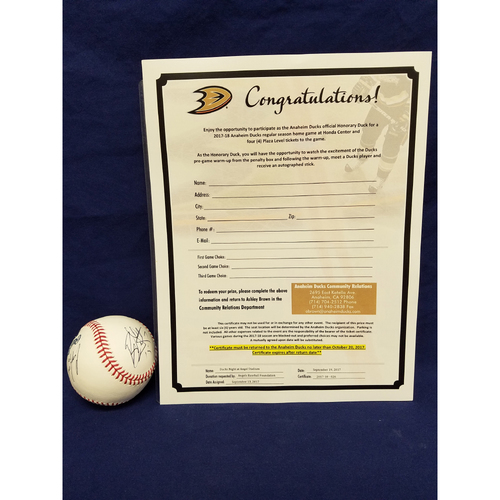Photo of Anaheim Ducks Los Angeles Angels Charity Auction: Honorary Duck Package and Signed Baseball