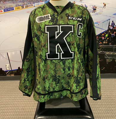 #21 Ryan Cranford Autographed Game Issued (Worn) Kingston Frontenacs Camo Jersey